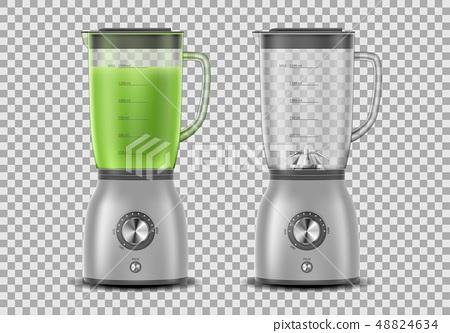 Set of Realistic Juicer blender. Kitchen blender with organic green vegetable juice and empty, drink 48824634