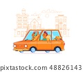 Family journey by car to nature.Flat vector illustration 48826143