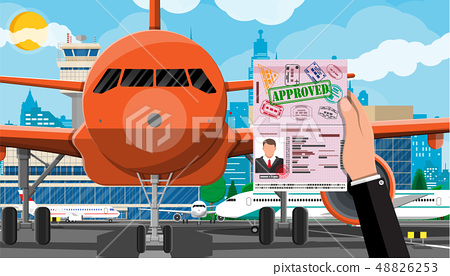 Plane before takeoff 48826253