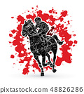Horse racing ,Horse with jockey graphic vector. 48826286