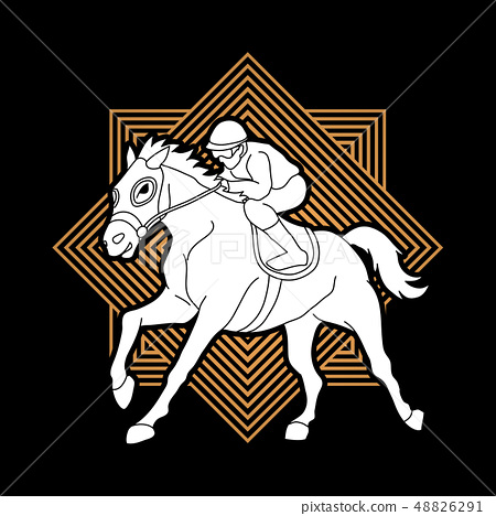 Horse racing ,Horse with jockey graphic vector. 48826291