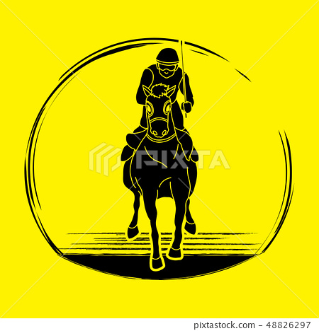 Horse racing ,Horse with jockey graphic vector. 48826297