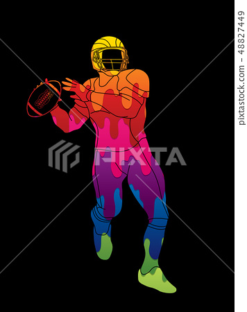 American football player action graphic vector. 48827449