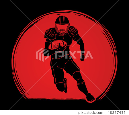 American football player action graphic vector. 48827455