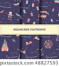 Set of amusement park seamless patterns with rides 48827593