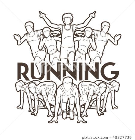 Group of People run Runner Marathon running vector 48827739