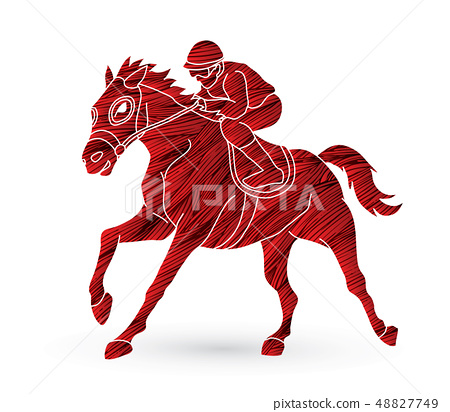 Jockey riding horse, hose racing graphic vector 48827749