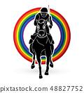 Jockey riding horse, hose racing graphic vector 48827752