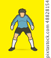 Goalkeeper standing action, Soccer player vector 48828154