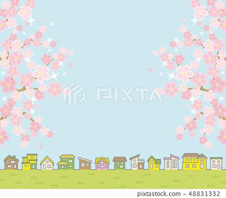春天農村風景的例證與櫻花(房子線和天空和草甸)長方形橫幅版本的 48831332