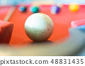 white ball of snooker on snooker table 48831435