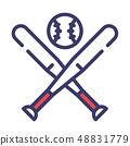 Baseball FlatOutline illustration 48831779