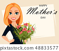 Happy attractive woman with a bouquet of flowers 48833577