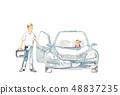 開車出去,父親和女兒 48837235