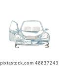 淺藍色的車,門打開 48837243
