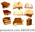Old or retro books with bookmark in pile or stack 48838199