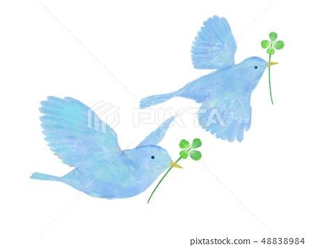鳥和四片葉子三葉草水彩手寫樣式紅色鳥 48838984
