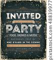 Vintage Invitation Sign On Chalkboard 48839977