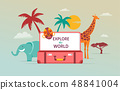 Travel and tourism concept design with open suitcase. Vector illustration 48841004