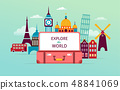 Travel and tourism concept design with open suitcase. Vector illustration 48841069