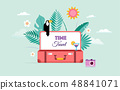 Travel and tourism concept design with open suitcase. Vector illustration 48841071