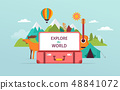 Travel and tourism concept design with open suitcase. Vector illustration 48841072