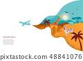 Africa banner, vector illustration of Safari, animals, tribal symbols 48841076