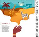 Africa banner, vector illustration of Safari, animals, tribal symbols 48841097