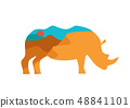 Rhino illustration with double exposure of African landscape 48841101