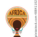 Africa day, Vector illustration with African woman, tribe ornaments and patterns. 48841102