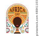 Africa day, Vector illustration with African woman, tribe ornaments and patterns. 48841103