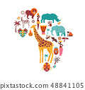 Africa map illustrated with animals icons, tribal symbols. Vector design 48841105