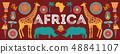 Africa banner, vector illustration of Safari, animals, tribal symbols 48841107