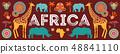 Africa banner, vector illustration of Safari, animals, tribal symbols 48841110
