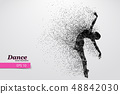 Silhouette of a dancing girl from particle. Dancer woman. 48842030