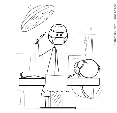 Cartoon of Surgeon on Operating Theater Ready to Operate a Patient 48842428