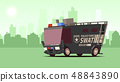 Police Van. Armored Special Forces Vehicle SWAT on City Landscape Background. 48843890