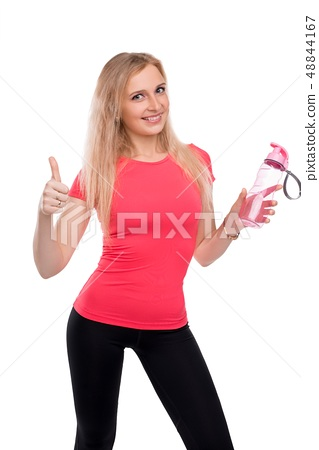 Slim blonde in sportswear cropped isolated view 48844167