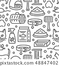 Cat and veterinary pet accessories outline icons seamless pattern 48847402