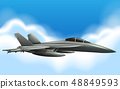 Military jet flying in sky 48849593