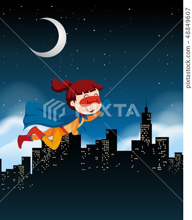 A girl super hero flying on sky 48849607