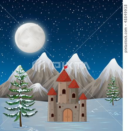 A castle in winter night 48849918