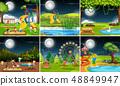 Set of playground scene at night 48849947