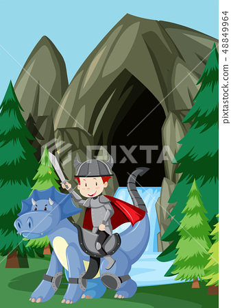 A prince riding dragon in nature 48849964