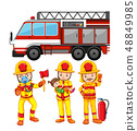 Set of fireman and truck 48849985