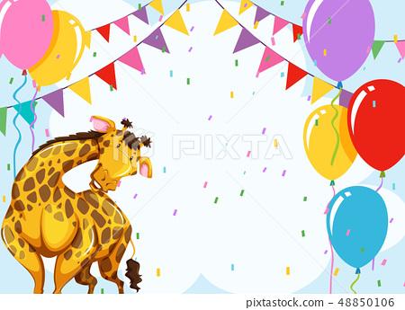 Fun giraffe party scene 48850106