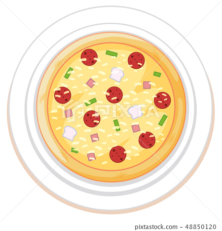 Pizza on plate white background 48850120