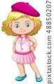 A girl wearing beret hat 48850207