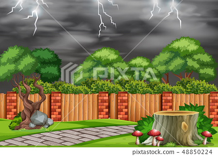 A nature garden in bad weather 48850224