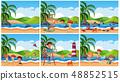 Set of children at beach scene 48852515